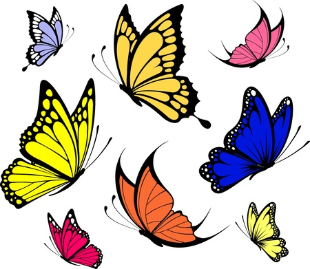 set of butterflies isolated on white background in vector format very easy to edit, individual objects Stock Vector - 9226087