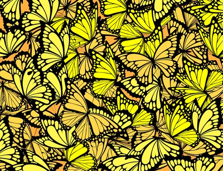 many butterflies background, individual objects in vector format