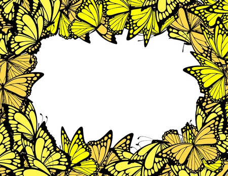 butterflies border, individual objects in vector format