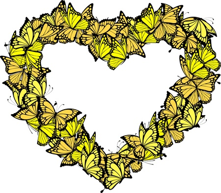 yellow: heart shape frame of butterflies, individual objects in vector format
