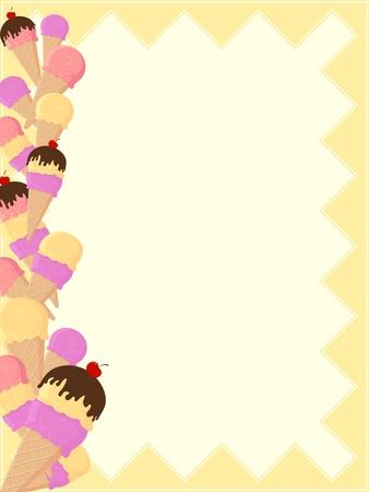 background with ice cream Vertical Ice Cream Border