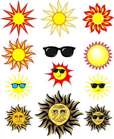 sol caricatura: conjunto de ilustraciones de sol de dibujos animados, en formato individual objetos vectoriales muy f�ciles editar Vectores