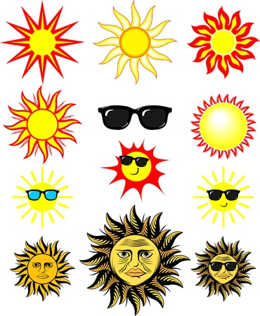 set of cartoon sun illustrations, in vector format individual objects very easy to edit