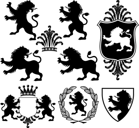 set of black heraldry silhouettes including lions, crowns, shields and garland Иллюстрация