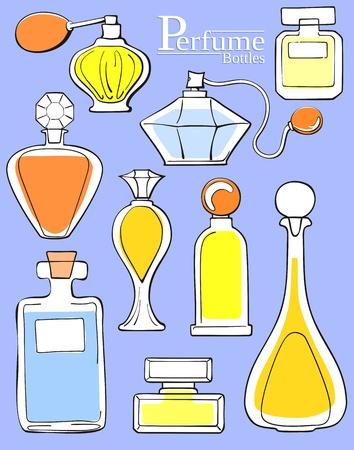 Ensemble de bouteilles de parfum  Banque d'images - 9934242