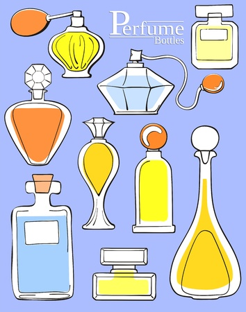 set van parfumflesjes Stock Illustratie
