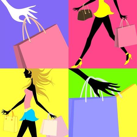winkelen in verband Stock Illustratie