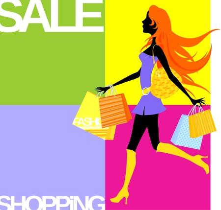 shopping girl background Vector