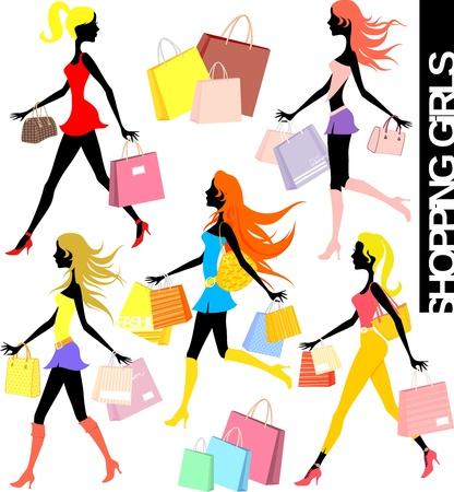 shopper: Reihe von Shopping-M�dchen Silhouetten und Papiert�ten Illustration