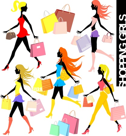 set of shopping girls silhouettes and paper bags