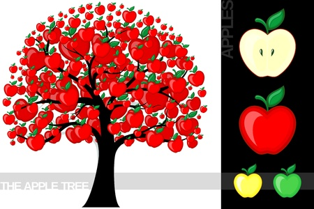 Illustration of a cartoon apple tree isolated on white background, very useful for several concepts (font used is a