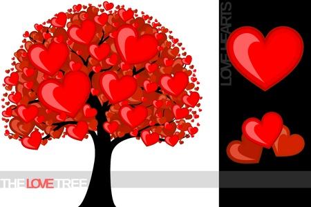 illustratie van een boom met liefde harten nuttig voor verschillende concepten, in vector-formaat individuele objecten