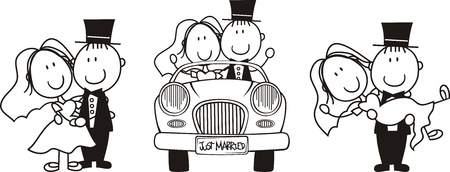 just married: conjunto de escenas de pareja cartoon aislados, ideales para invitaci�n de boda graciosas