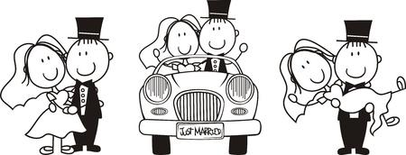 recien casados: conjunto de escenas de pareja cartoon aislados, ideales para invitación de boda graciosas