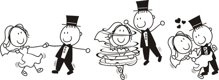 set of isolated cartoon bride and groom first dance wedding, ideal for funny invitation Vector