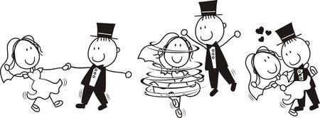 verzameling van geïsoleerde cartoon bruid en bruidegom eerste dans bruiloft, ideaal voor grappige uitnodiging