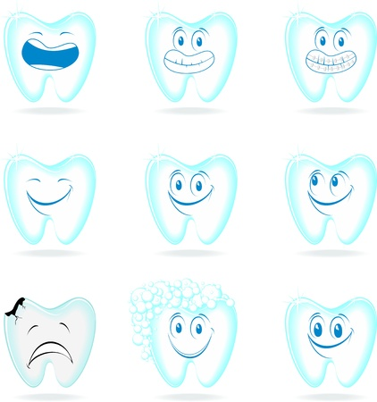 ortodoncia: serie de dibujos animados molares aislados sobre fondo blanco