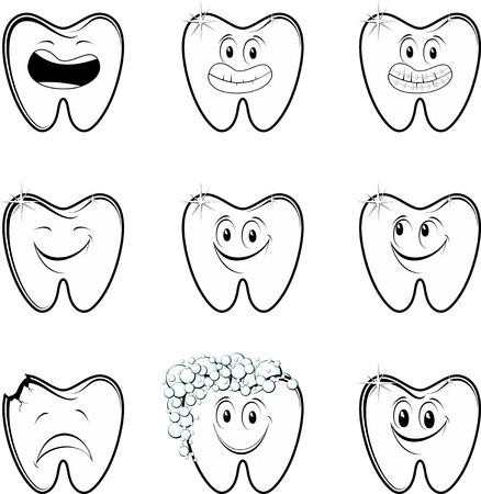 ortodoncia: conjunto de personajes de dibujos animados molares aislados sobre fondo blanco Vectores