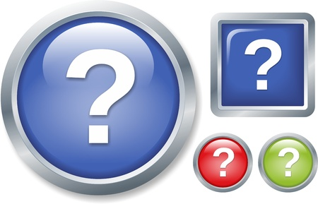 set of four question buttons isolated on white background photo
