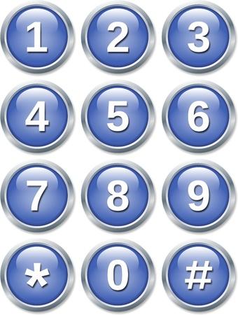 teclado numerico: conjunto de botones de brillantes sobre fondo blanco