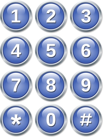 digital number: set of glossy buttons isolated on white background
