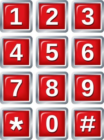 num�rico: conjunto de botones de brillantes sobre fondo blanco