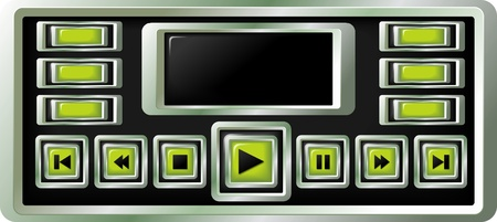 player controls: set of glossy buttons isolated on black background