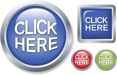 klik: set van glanzende knoppen op een witte achtergrond Stockfoto