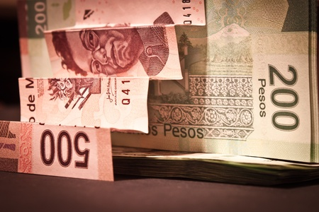 pesos: stairs of mexican bills