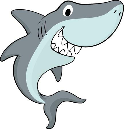 shark cartoon: ilustración vectorial de tiburón amigable aislado sobre fondo blanco