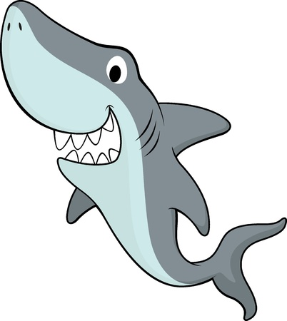 vector illustration of smiling shark isolated on white background Vector