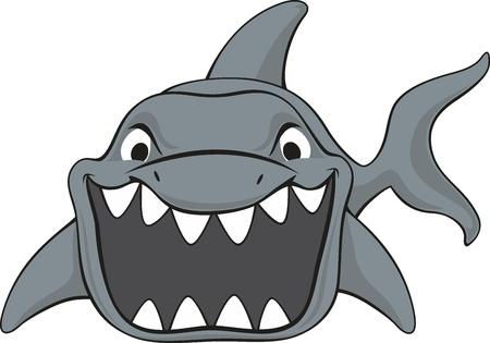 vector illustration of shark isolated on white background