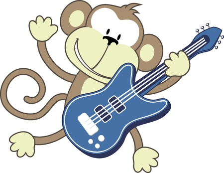 illustration of funny monkey playing electric guitar isolated on white background Vector