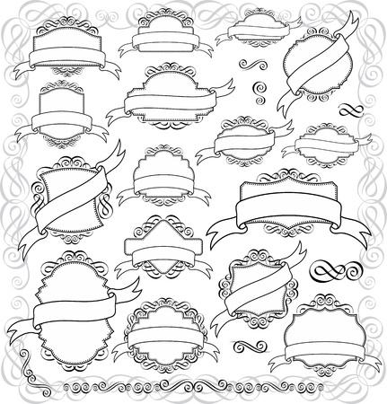 ruban noir: ensemble d'étiquettes rétro ou des cadres et des éléments de conception pour vos événements, format très facile à modifier Illustration