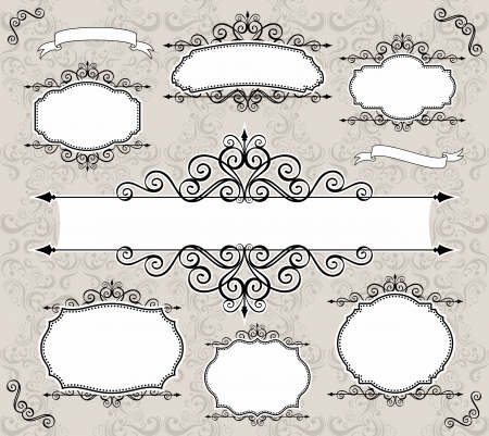 set of retro labels or frames and design elements for your events, scrapping or invitation designs Stock Vector - 13725706