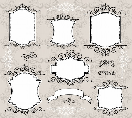 calligraphy frame: conjunto de etiquetas o marcos retro y elementos de dise�o para sus eventos, desguace o dise�os de invitaci�n Vectores