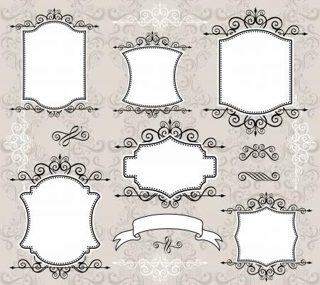 Ensemble d'étiquettes rétro ou des cadres et des éléments de conception pour vos événements, à la démolition ou de dessins d'invitation Banque d'images - 13725705