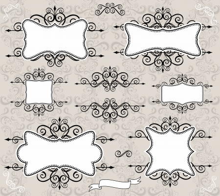 Conjunto de etiquetas o marcos retro y elementos de diseño para sus eventos, desguace o diseños de invitación Foto de archivo - 13725704