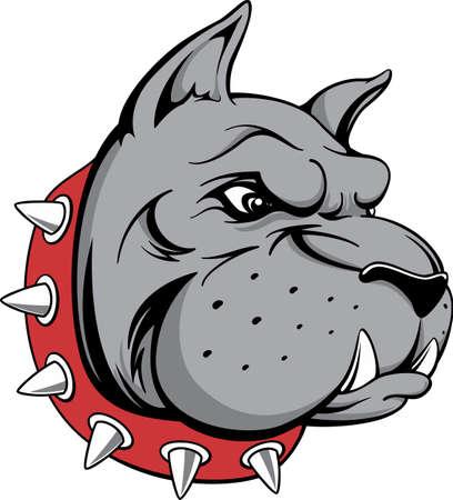 perro furioso: vector de imagen de la cabeza de la mascota del equipo de toro perro aislado en fondo blanco