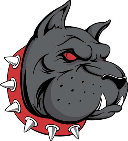 vector image of head of black dog, can be used as a team mascot, security dog warning or anything else, isolated on white background