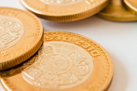 close up of mexican ten pesos coin photo