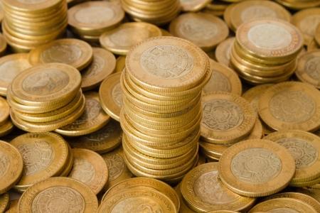 a lot of golden coins, mexican ten pesos coins photo