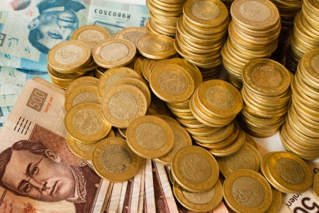 munten en bankbiljetten, Mexicaanse Peso geld Stockfoto