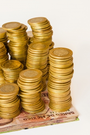 pesos mexicanos de dinero, monedas y billetes de banco Foto de archivo - 13995466