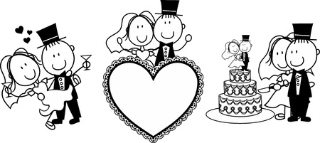 happy couple: set of isolated cartoon couple scenes, ideal for funny wedding invitation
