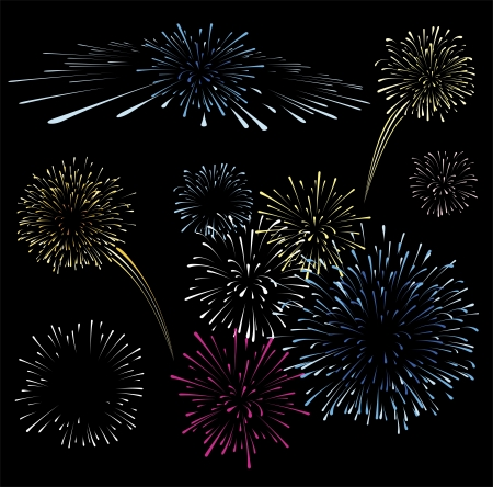 sparkler: set of fireworks isolated on black background, format very easy to edit, solid colors whitout gradients