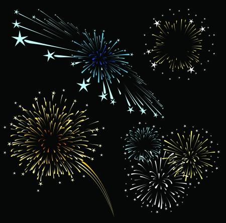 검은 배경에 고립 불꽃 놀이 세트, 편집하는 것은 매우 쉬운 형식으로, 솔리드 색상 그라디언트 whitout