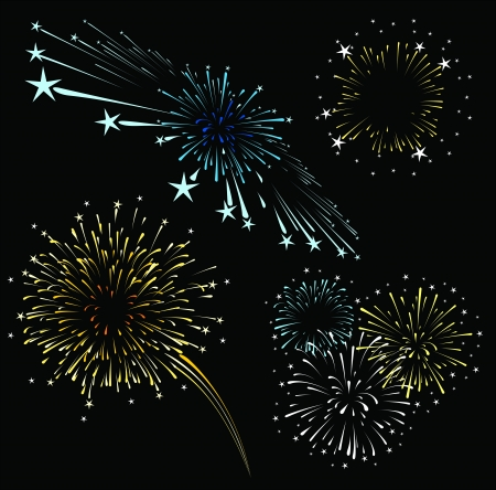 colors: set of fireworks isolated on black background,  format very easy to edit, solid colors whitout gradients