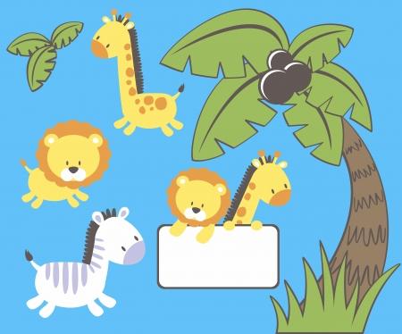 jirafa cartoon: conjunto de personajes divertidos dibujos animados de animales y la selva de palmeras aisladas sobre fondo azul, objetos individuales muy fáciles de editar