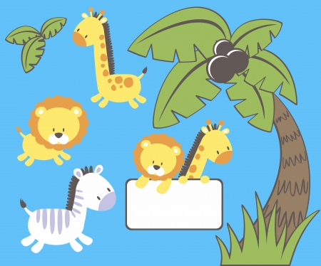 set of cute jungle animal cartoon characters and palm tree isolated on blue background, individual objects very easy to edit